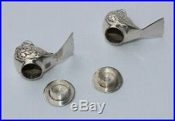 Miniature Antique 900 Sterling Silver Birds Chicks Figural Salt Pepper Shakers