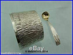 Modernist Textured Bark Effect Silver Condiment Cruet Set Cj Vander 1975