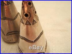 Navajo Silver Salt & Pepper Shakers Teepee Exc Detailed Work