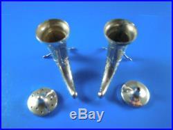 Norway Sterling Silver Viking Horn Salt & Pepper Shaker Theodor Olsons
