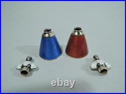 Novelty Salt Pepper Shakers Figural Pair Norwegian Sterling Silver Enamel