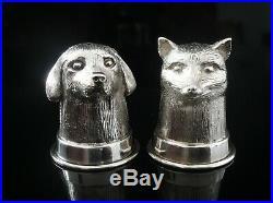 Novelty Silver Fox & Hound Salt & Pepper Pots Clive & Clarissa Cooke London 1990