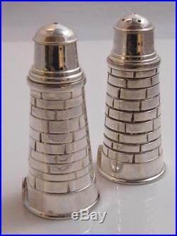 Novelty Silver Plate Lighthouse Salt & Pepper Shakers