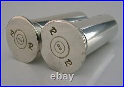 Novelty Solid Silver Shotgun Shell Case Salt & Pepper Pots Shooting