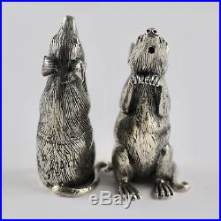 Novelty Victorian Style Mice Mouse Salt and Pepper Shakers 925 Sterling Silver