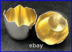 Novelty pair of silver salts broken egg shells London 1869