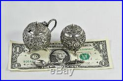 PAIR ANTIQUE SILVER FOOTED BALL SALT SHAKER & MUSTARD POT withSPOON