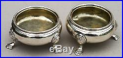 PAIR GEOII Solid Sterling Silver SALT CELLARS London 1753 Maker Fuller White