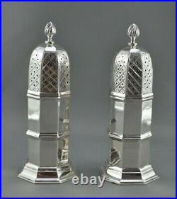 PAIR of ENGLISH STERLING SILVER 4-1/2 inch CASTERS, SHAKERS CHESTER, 1922-23