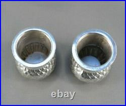 PAIR of English Sterling Silver Thistle -Novelty Pepper Shakers Sheffield 1930