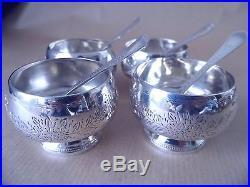 Pretty Victorian Sterling Silver Salt Pots 1873, Boxed