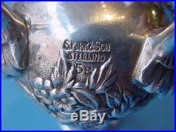 Pair American Sterling Silver Repoussé Castors #58 Kirk c. 1960
