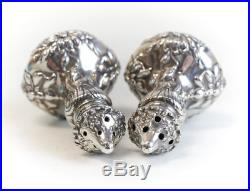 Pair American Sterling Silver Repousse Salt/Pepper Shakers, Art Nouveau