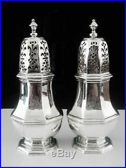 Pair Antique Britannia Silver Casters CRESTED, London 1721, Samuel Welder