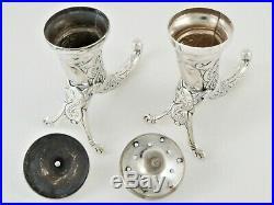 Pair Antique Norwegian Silver Salt & Pepper Shakers Cornucopia Theodor Olsen