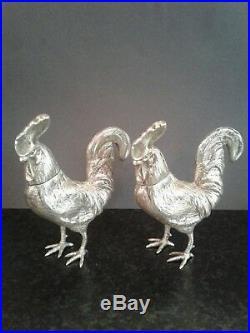 Pair Antique Novelty Silver Bird Pepper Shaker Bernard Muller Dated