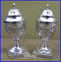 Pair Antique Victorian sterling silver peppers, 160 grams, 1895