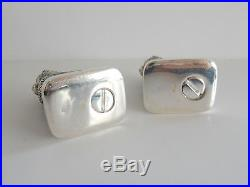 Pair Continental Silver & Emerald Novelty Cat Salt & Pepper Shakers Stamped