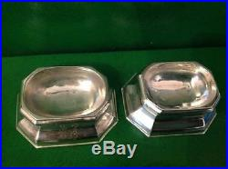 Pair Edward Wood Georgian Antique English Sterling Silver Trencher Salts 1728