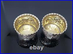 Pair Indian antique Solid Silver Salts Grish Chunder Dutt Calcutta 68.8g c1890