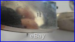Pair Large 950 Sterling Silver Japanese Boats Salt Pepper Shakers
