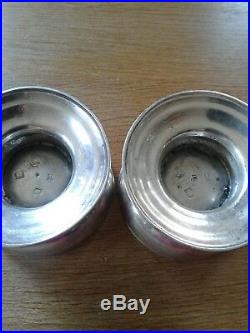 Pair Of Solid Sterling Silver Spool Salts London 1731 Louis Cuny Famous Huguenot