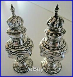Pair Solid Silver Pepper Pots, Hallmarked Birmingham 1902