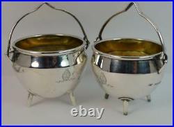 Pair of 1862/63 Victorian Silver Salt Cauldron Cellars with Bishop Mitre Crest