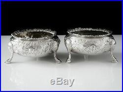 Pair of Antique Silver Salt Cellars, London 1888, Edward Hutton