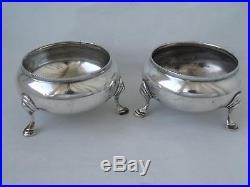 Pair of Antique Solid Sterling Silver Salt Pots 1910 Barnard/ Dia 6.4 cm/ 118 g