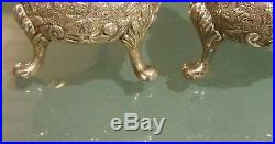 Pair of Antique Sterling Silver Salt & Pepper Repousse Shakers Stunning 6 oz