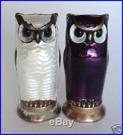 Pair of David Anderson Sterling Silver 925 Enameled Owl SALT & PEPPER SHAKERS