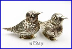 Pair of Sterling Silver Bird Salt and Pepper Shakers, Portugal, Hallmarked