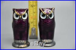 Pair of Vintage David Anderson OWL SALT & PEPPER SHAKERS. SILVER/ENAMEL- NORWAY