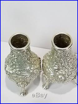 Pr Sterling S KIRK & SON Salt & Pepper Shakers REPOUSSE no. 58