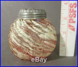 RARE Antique NORTHWOOD Glass LEAF MOLD Vaseline Spatter Sugar Shaker Muffineer