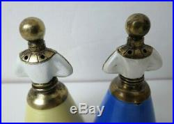 RARE J Tostrup Norway Sterling Silver & Enamel Figural Salt & Pepper Shakers