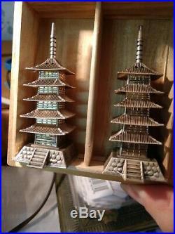 RARE Japanese 950 Sterling Pagoda Figural Salt & Pepper Shakers IWB, never used