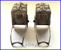 RARE Japanese niello/gold STERLING SILVER salt & pepper PALANQUIN CART shakers
