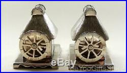 RARE-UNUSUAL Japanese STERLING SILVER salt-pepper water-wheel TEA-HOUSE SHAKERS