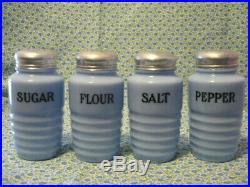 RARE! Vntg/Antique Delphite set Shakers salt/pepper/flour/sugar Drippings Bowl