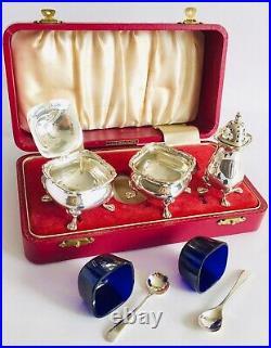 Rare (1965) Barker Ellis Sterling Silver Cruet Set In Original Velvet Lined Box