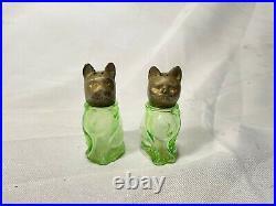 Rare Antique Cat & Dog Green Depression Glass Salt & Pepper Shakers Metal Heads