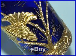 Rare Antique French Bohemian Blue Glass Heavy Gold Figural Enamel Sugar Shaker