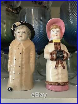 Rare Antique Russian Porcelain Figurine Salt & Pepper Shakers
