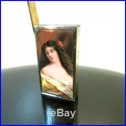 Rare Antique Sterling Enamel Portrait Female Beauty Match Safe Chester 1905