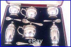 Rare & Beautiful Solid Silver 6 Piece Celtic Design Boxed Condiment Set 1938
