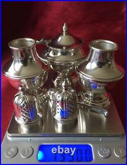 Rare Garrard & Co Solid Sterling Silver Condiment Set In Original Box Hallmarked