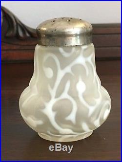 Rare Hobbs Victorian Satin Opalescent Seaweed Salt Pepper Shaker 1880s