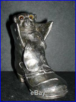 Rare Pair Cat & Dog in Boot Silverplate Figural Shakers